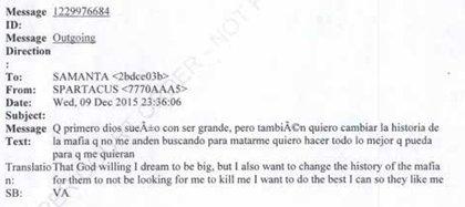 H9: Que, primero Dios, sueño con ser grande. Pero también quiero cambiar la historia de la mafia, que no me anden buscando para matarme. Quiero hacer todo lo que pueda para que me quieran (Captura: Expediente Departamento de Justicia EEUU)