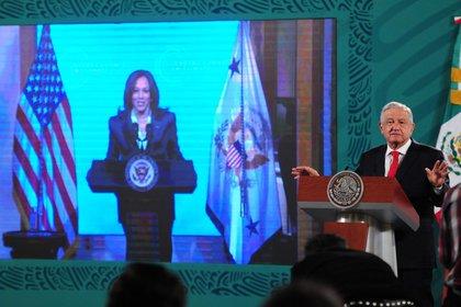 CIUDAD DE MÉXICO, 22ABRIL2021.- Andrés Manuel López Obrador, presidente de México, encabeza la conferencia matutina de este jueves, donde participó en la Cumbre del Clima 2021. FOTO: DANIEL AUGUSTO /CUARTOSCURO.COM