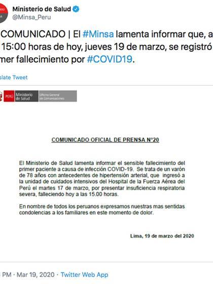 Comunicado oficial del ministerio de salud sobre el primer fallecido por coronavirus