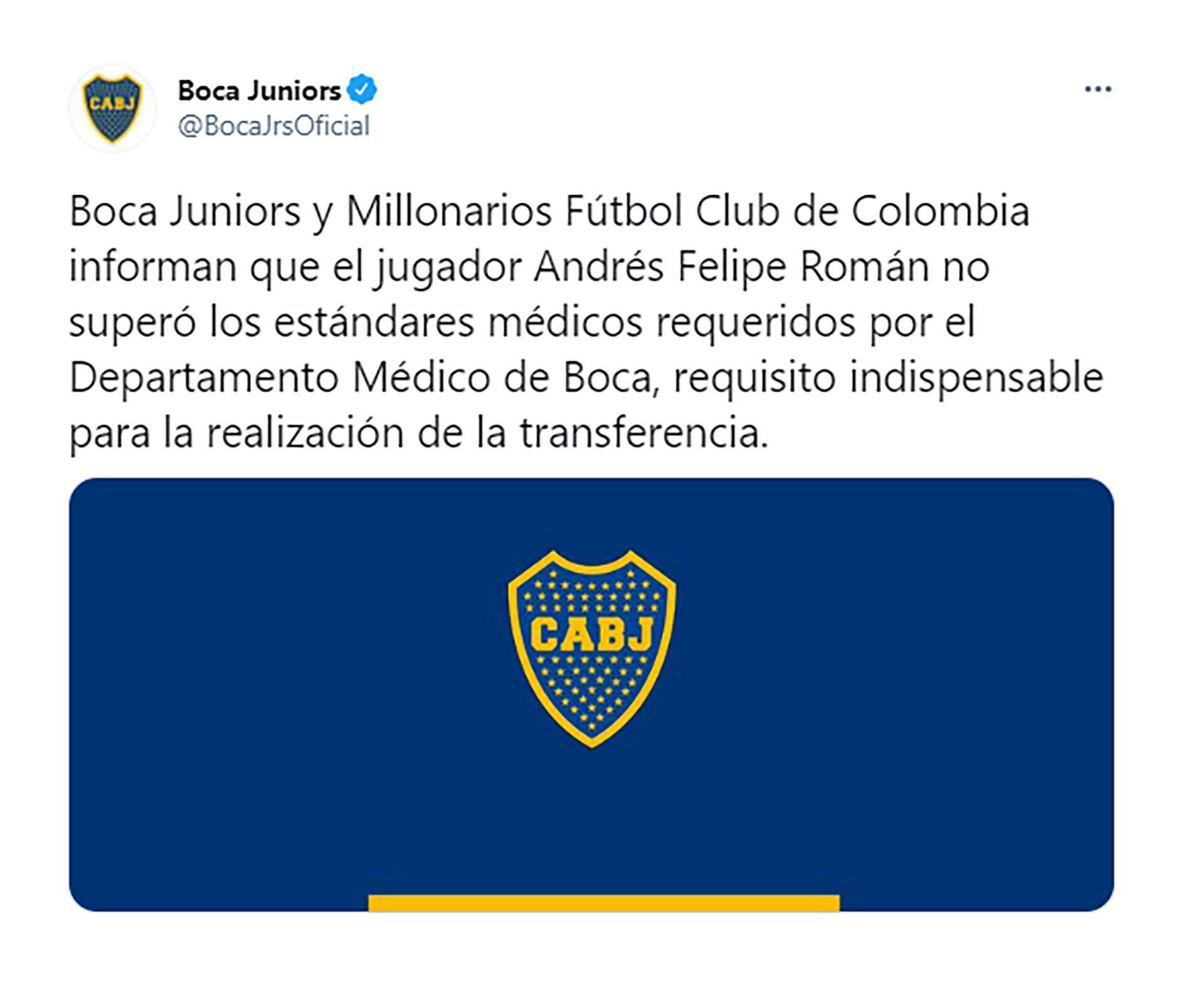 Comunicado Boca sobre el pase de Felipe Román