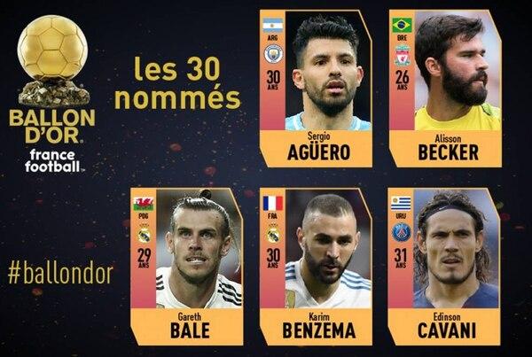 Sergio Agüero, Alisson Becker, Gareth Bale, Karim Benzema y Edinson Cavani fueron los cinco primeros futbolistas anunciados como candidatos al Balón de Oro 2018