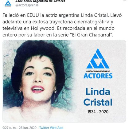 La Asociación Argentina de Actores comunicó la muerte de la actriz (Foto: Twitter)