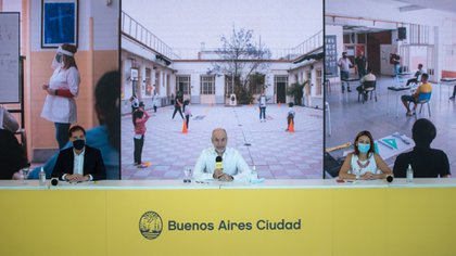 Horacio Rodríguez Larreta, durante el anuncio del retorno de las clases presenciales