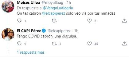 El Capi y su mensaje en Twitter confirmando que tiene COVID-19