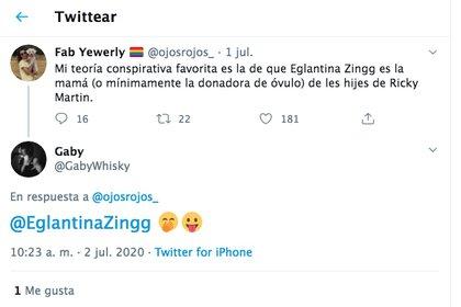 El mensaje al que Eglantina reaccionó (Foto: Twitter@ojosrojos)