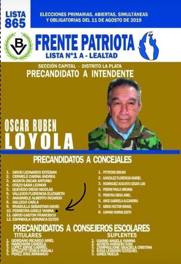 El nombre de Gisele en décimo lugar del precandidato a intendente platense, Oscar Rubén Loyola