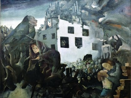 """Mariette Lydis, """"De la malicia y del odio"""", 1940, óleo sobre tela, 114 x 145 cm. Colección Museo Nacional de Bellas Artes"""