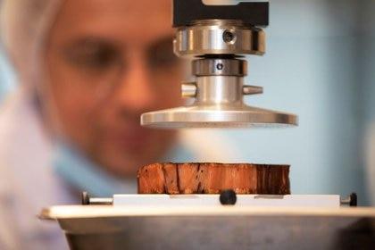 Un técnico de alimentos prueba un filete de origen vegetal cocido impreso en 3D que imita la carne de res real  REUTERS/Amir Cohen