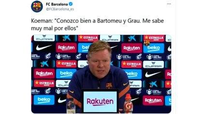 El posteo del Barcelona con la declaración de Koeman