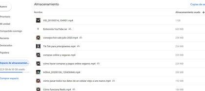 Dentro de Espacio de Almacenamiento en Google Drive se puede ver el lugar que ocupan los archivos