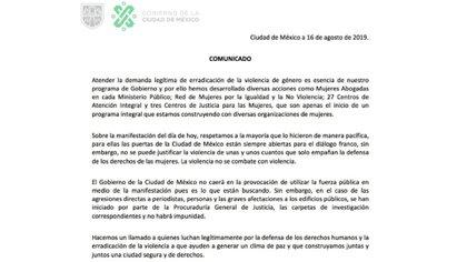 La jefa de Gobierno de la Ciudad de México fijó su postura respecto a la manifestación a través de un comunicado (Foto: Twitter)