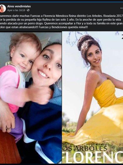 Desde el Grupo de Facebook, Aires Vendimiales, se solidaron con Florencia Mendoza, la madre de Micaela que, en 2017, fue condecorada Reina de Los Árboles.