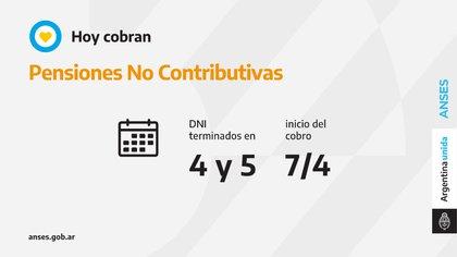 Hoy cobran los beneficiarios de Pensiones No Contributivas con documentos terminados en 4 y 5