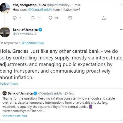 La respuesta de la cuenta de Twitter del Banco de Jamaica a un usuario argentino.