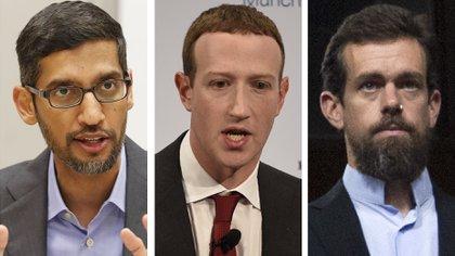 Sundar Pichai, de Google; Mark Zuckerberg, de Facebook, y Jack Dorsey, de Twitter, se cuentan entre los CEOs más poderosos del mundo. (AP Photo/Jose Luis Magana, LM Otero, Jens Meyer)