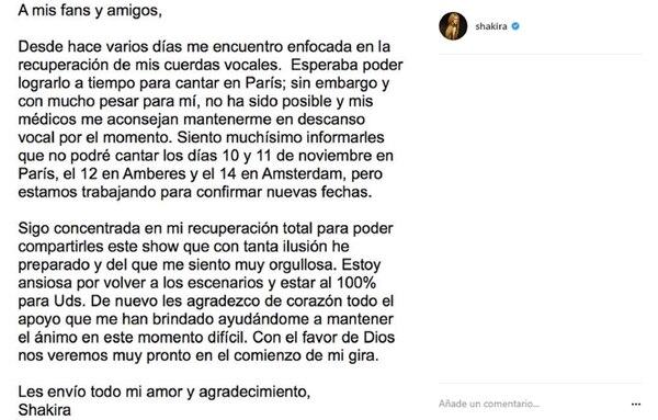 El comunicado de Shakira en el que anuncia la suspensión de sus show de París, Amberes y Ámsterdam