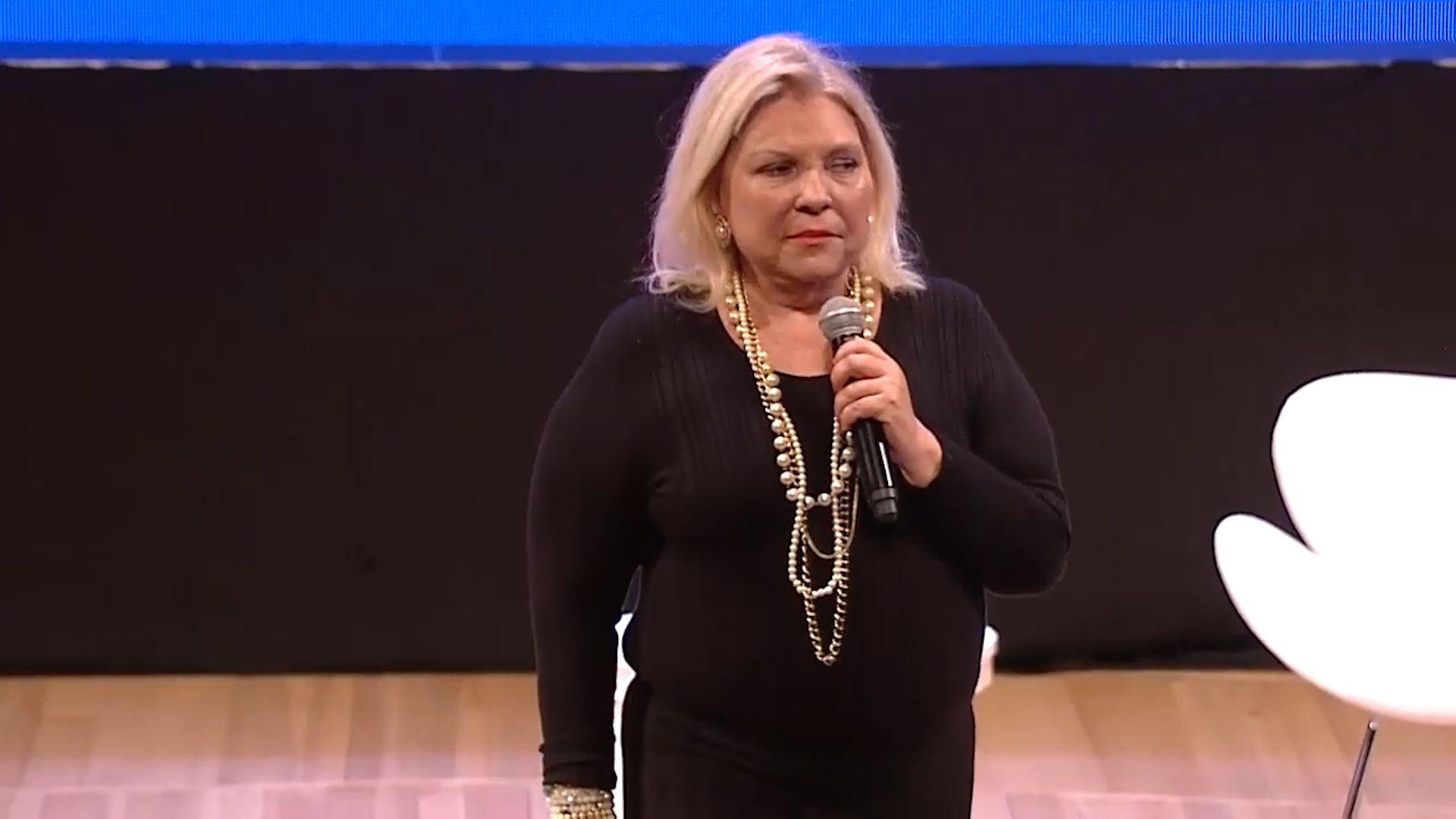 Elisa Carrió durante su discurso en el Centro Cultural Kirchner
