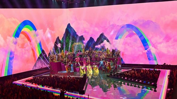 Taylor Swift en su actuación durante los MTV Video Music Awards 2019 en el Prudential Center de Newark, Nueva Jersey, donde reclamó a la administración Trump una respuesta a su petitorio a favor de la Equality Act (Foto:Mike Coppola/MTV/AFP)