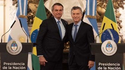 Mauricio Macri y Jair Bolsonaro durante la última cumbre bilateral en Buenos Aires. (Adrián Escandar)