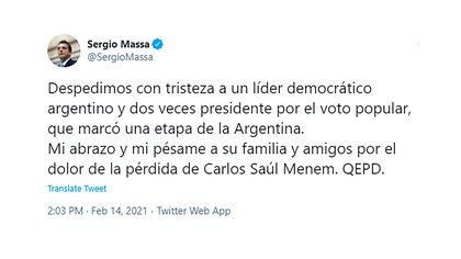 """""""Marcó una etapa de la Argentina"""", consideró Sergio Massa"""