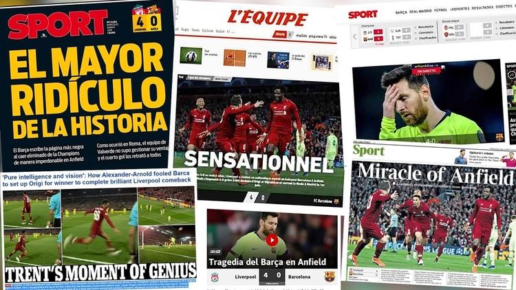 """""""El mayor ridículo de la historia"""" y """"'Deja vu' terrorífico"""": las portadas del mundo por la eliminación del Barcelona ante Liverpool"""