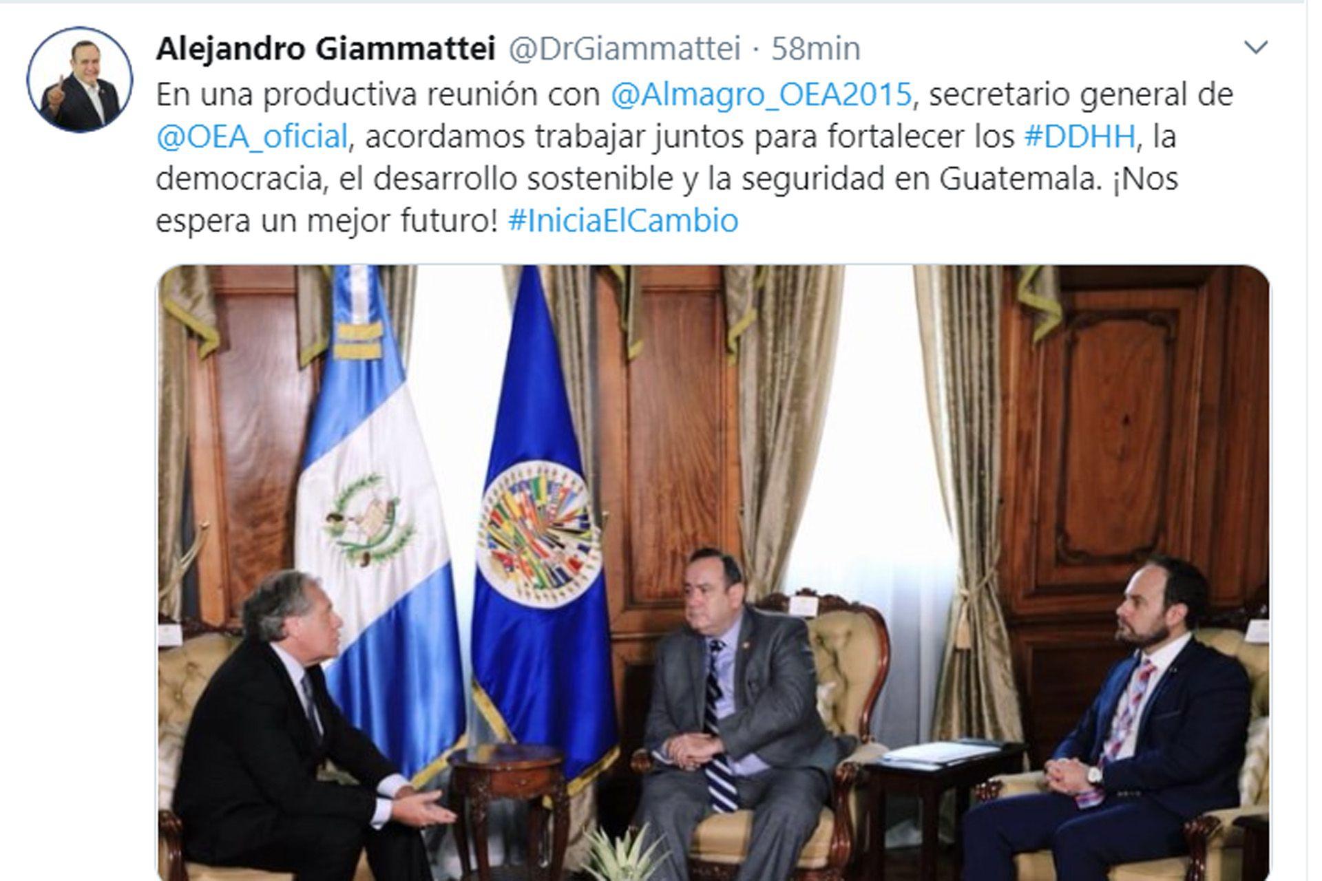 Giammattei publicó una foto de su reunión con Luis Almagro. Foto: @DrGiammattei