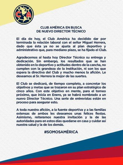 América anunció que concluyó la relación laboral con Miguel Herrera (Foto: Twitter@ClubAmerica)