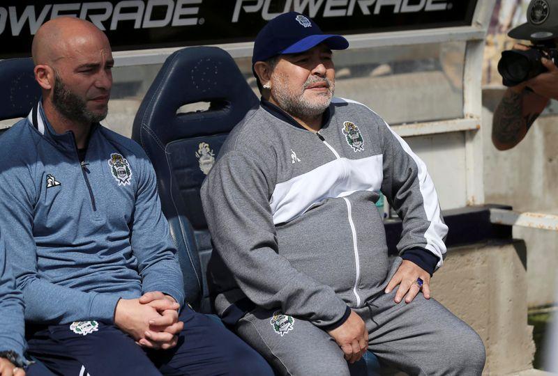 Banco: Maradona en septiembre de 2019, como DT de Gimnasia (REUTERS/Agustin Marcarian)