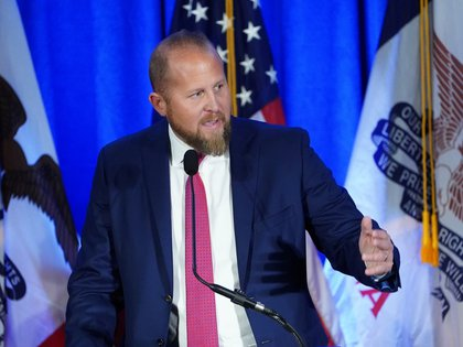 FILE PHOTO: Campaign manager for the Trump 2020 reelection campaign Brad Parscale speaks at a press conference in Des Moines, Iowa, U.S., February 3, 2020. REUTERS/Carlo Allegri/File Photo