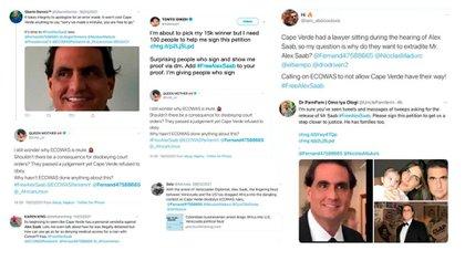 Algunos ejemplos de los tuits de cuentas nigerianas en defensa de Saab