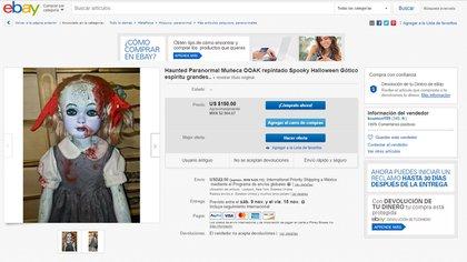 Venta de muñeca embrujada por eBay por más de 2 mil pesos mexicanos. Se asegura que esta poseída (Foto: eBay)