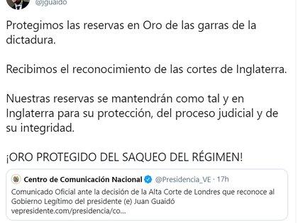 Juan Guaidó celebró la decisión de la justicia británica