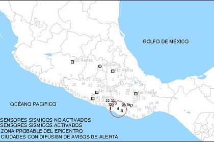 Localización del epicentro del sismo en Oaxaca (Foto: Twitter / @SASMEX)