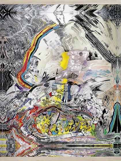 """Luis Felipe Noé, """"¿De qué se trata?"""" (acrílico y tinta sobre papel y yeso en caja con espejos, 2006)"""