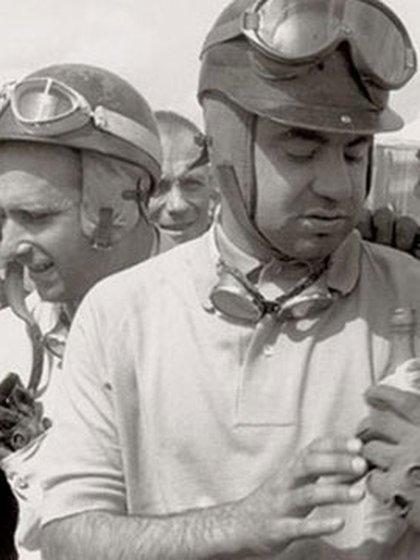 """La dupla argentina en la máxima categoría: el """"Cabezón"""" Froilán y Juan Manuel Fangio."""
