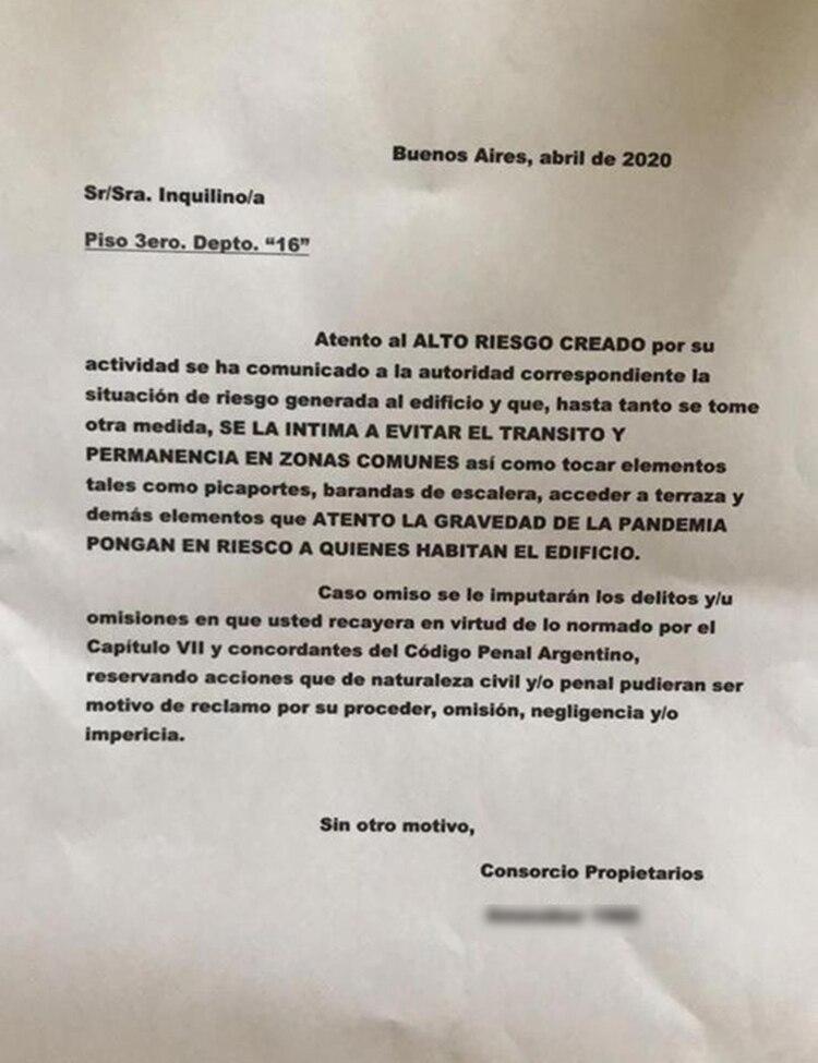 La carta que recibió la joven médica
