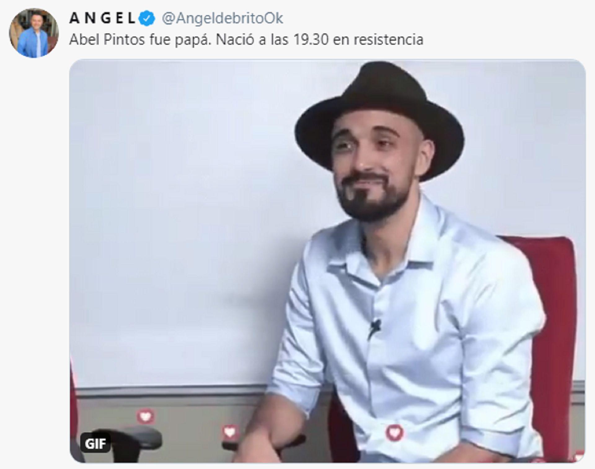 El tuit de Ángel de Brito donde anuncia el nacimiento de Agustín, el hijo de Abel Pintos