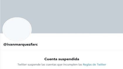 Twitter cerró cuentas de Iván Márquez, Santrich y Segunda Marquetalia por solicitud de las autoridades. Crédito Twitter
