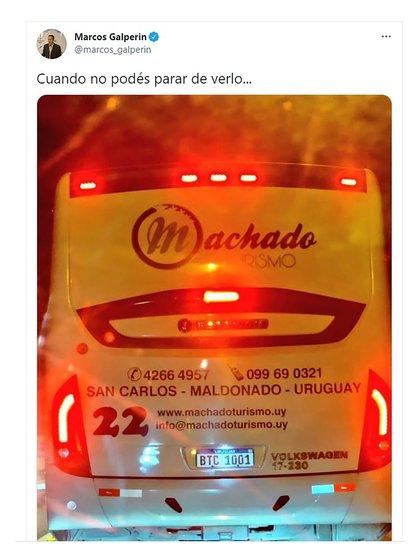 """""""Cuando no podés para de verlo"""", tuiteó Galperin días atrás y posteó en Twitter una foto de una patente uruguaya con las letras BTC, la sigla de Bitcoin."""
