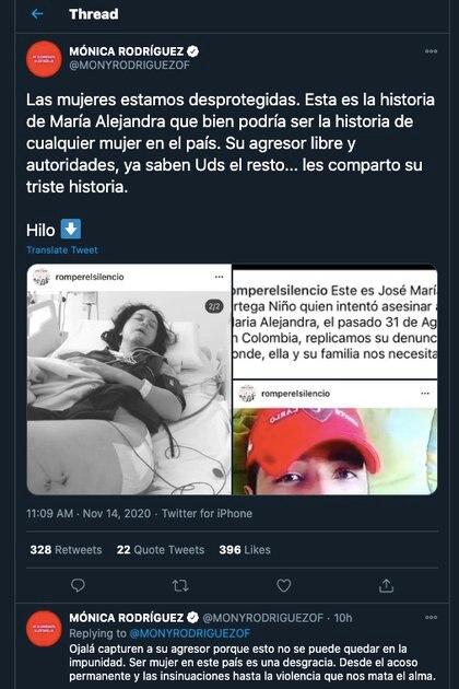 Periodista de Canal Uno, Mónica Rodríguez, dio a conocer el caso y denuncio libertad del agresor / (Twitter: @MONYRODRIGUEZOF).
