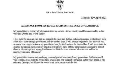 El comunicado del duque de Cambridge
