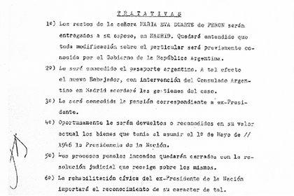 Listado que el coronel Cornicelli presentó a Perón