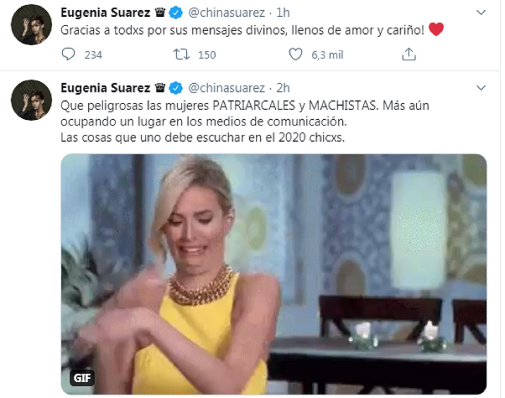 Los mensajes de la China Suárez en su cuenta de Twitter