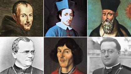 Arriba, de izq a der: Marin Mersenne, Nicolas Steno, Matteo Ricci.  Abajo, de izq a der: Mendel, Copernico, Lemaître