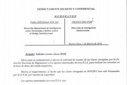 Pedido para que agentes de la AFI renovaran las claves de Migraciones. Los nombres de los espías quedaron expuestos.