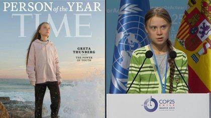 """La activista ambiental Greta Thunberg, de 16 años, fue elegida como la personalidad del año 2019 de la revista Time, que la colocó en su portada con el título """"El poder de la juventud""""."""
