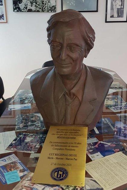 El busto es una donación de la Regional Zona Norte-Oeste de la CGT (foto: Télam)