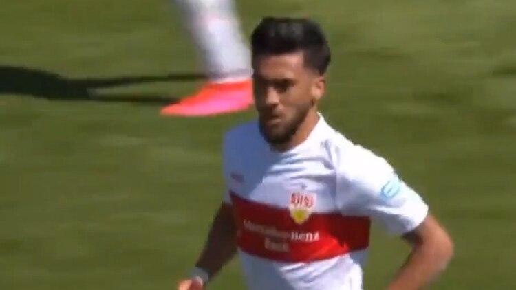 Nicolás González celebra su gol en el regreso del fútbol