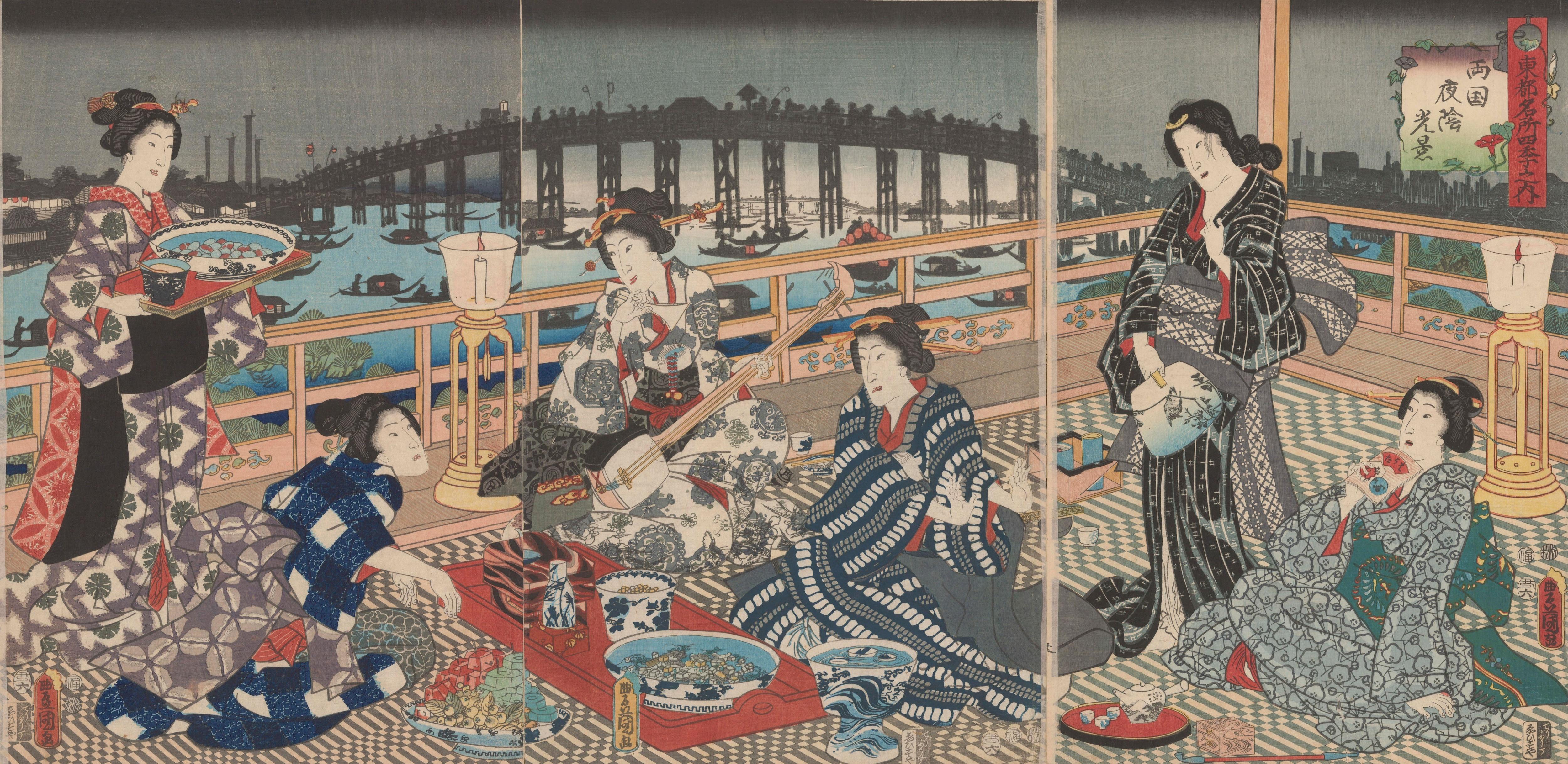 Escena nocturna en Ryogoku (Ajinomoto Foundation en Google Arts & Culture)