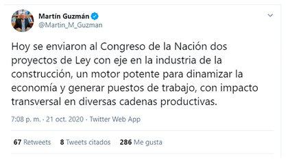 El tuit del ministro Guzmán anunciando los proyectos